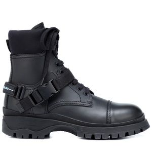 Prada Leather Combat Balck Boots Sz36.5